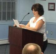 Doreen Reilly represents neighbors at Kingston BOH hearing 1/14/13.Photo Credit: Louise Grabowski